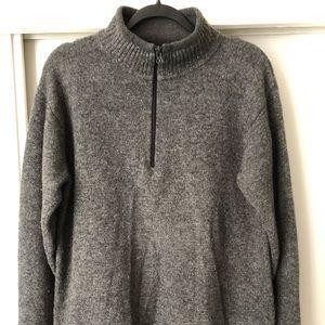 WOOLRICH-Wool 1/4 Zip Up Pullover Mock Sweater